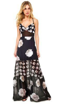 0a68ee37d Vestido Longo Colcci Floral Preta | vestidos em 2019 | Colcci ...