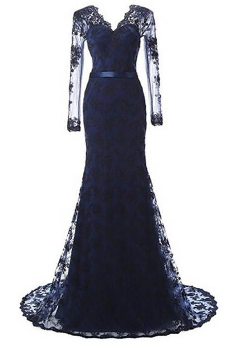 Women's Elegant Mermaid Prom Dress Lace and Tulle Evening Dress V-Neck Long Prom Gown PD032
