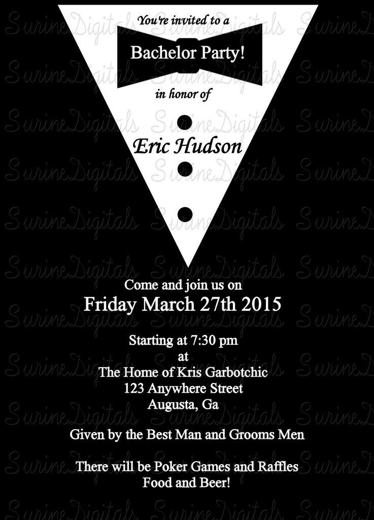 Black Tie Affair Bachelor Party Invitation Grooms Tux Stag Party