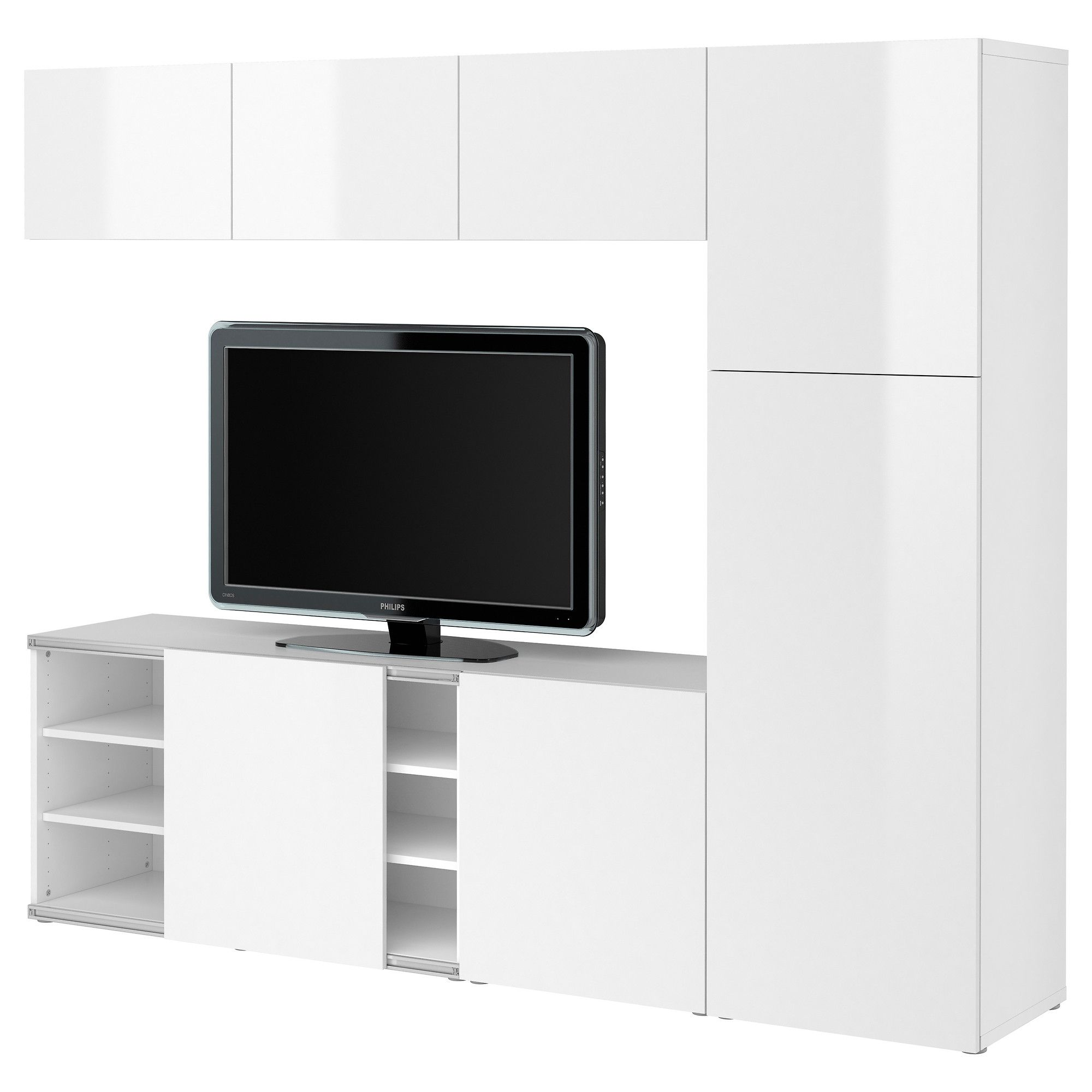 BESTÅ Storage Combination W Sliding Door   White/high Gloss White    IKEA$649