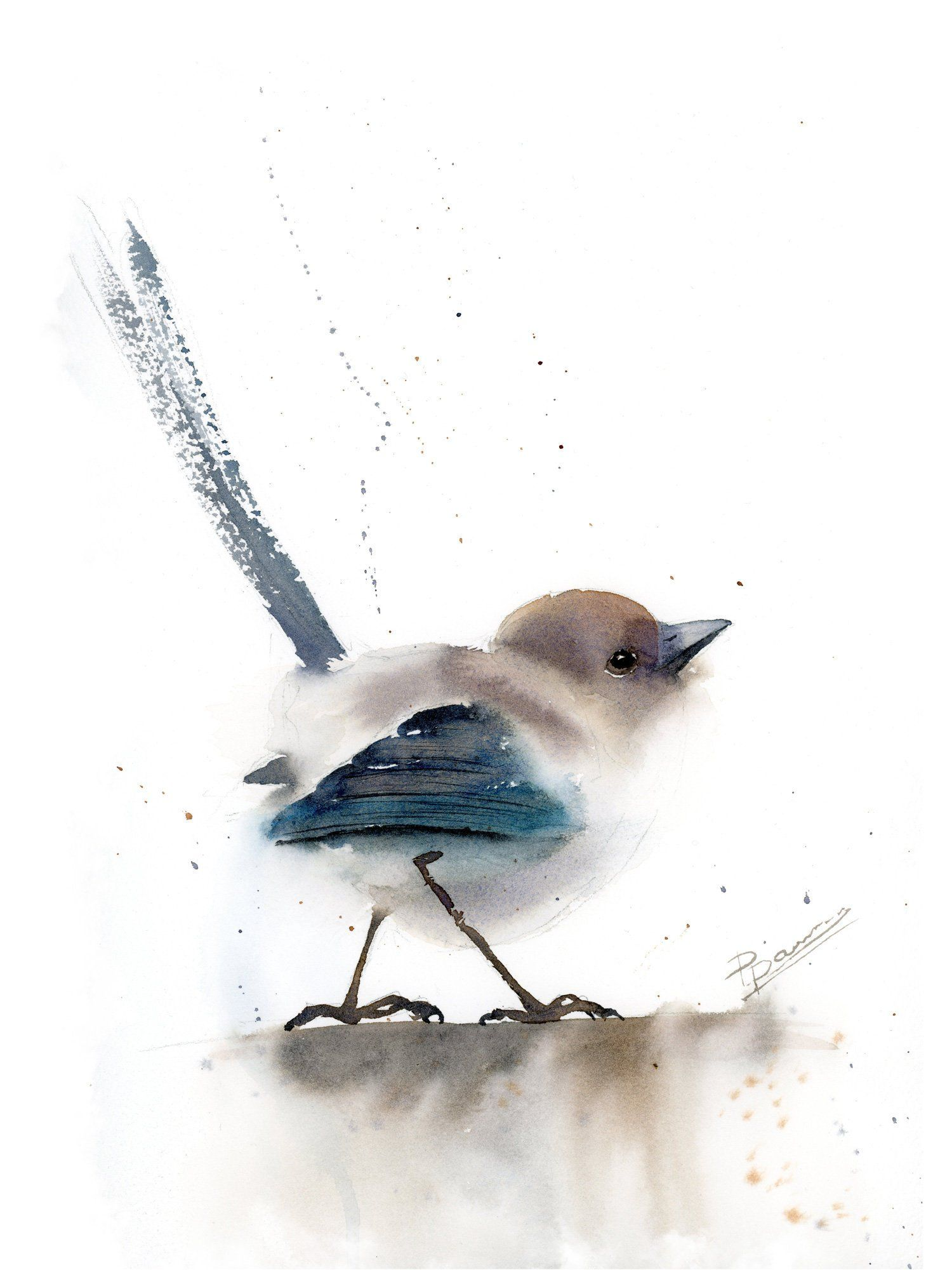 Wren Art Minimalist Original Watercolor Painting Abstract Bird