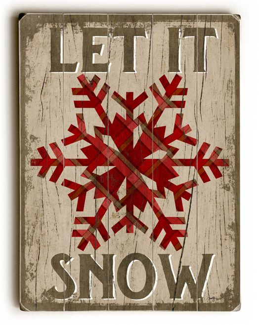 Red 'Let It Snow' Snowflake Wood Wall Art