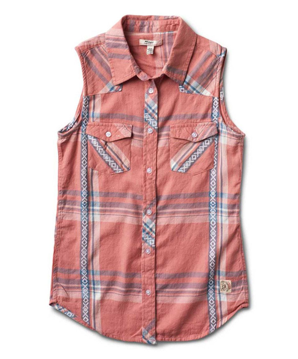 6e67e75b0 This Silver Jeans Co. Pink Plaid Sleeveless Button-Up - Girls by Silver  Jeans Co. is perfect! #zulilyfinds
