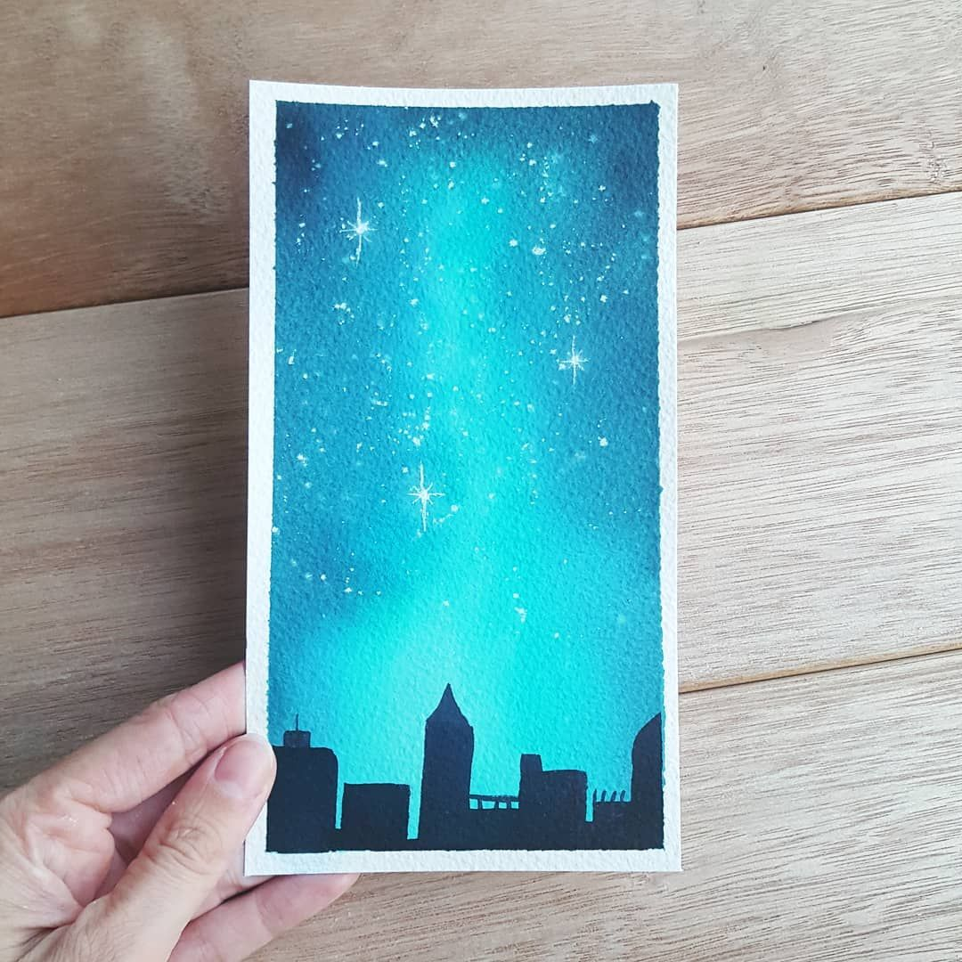 A Little Galaxy Painting For You Today All The Way From Curacao Ecoline Liquid Watercolors Arches Pape Aquarel Ideeen Aquarel Landschap Diy Schilderij