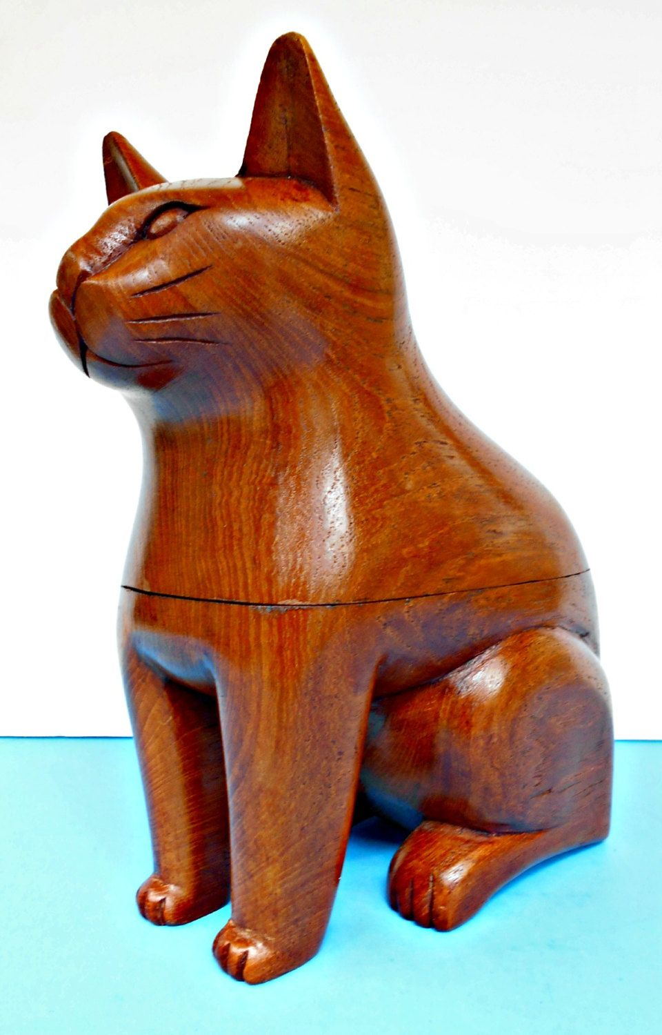 Wood cat box carved wooden cat asian cat container cat vintage