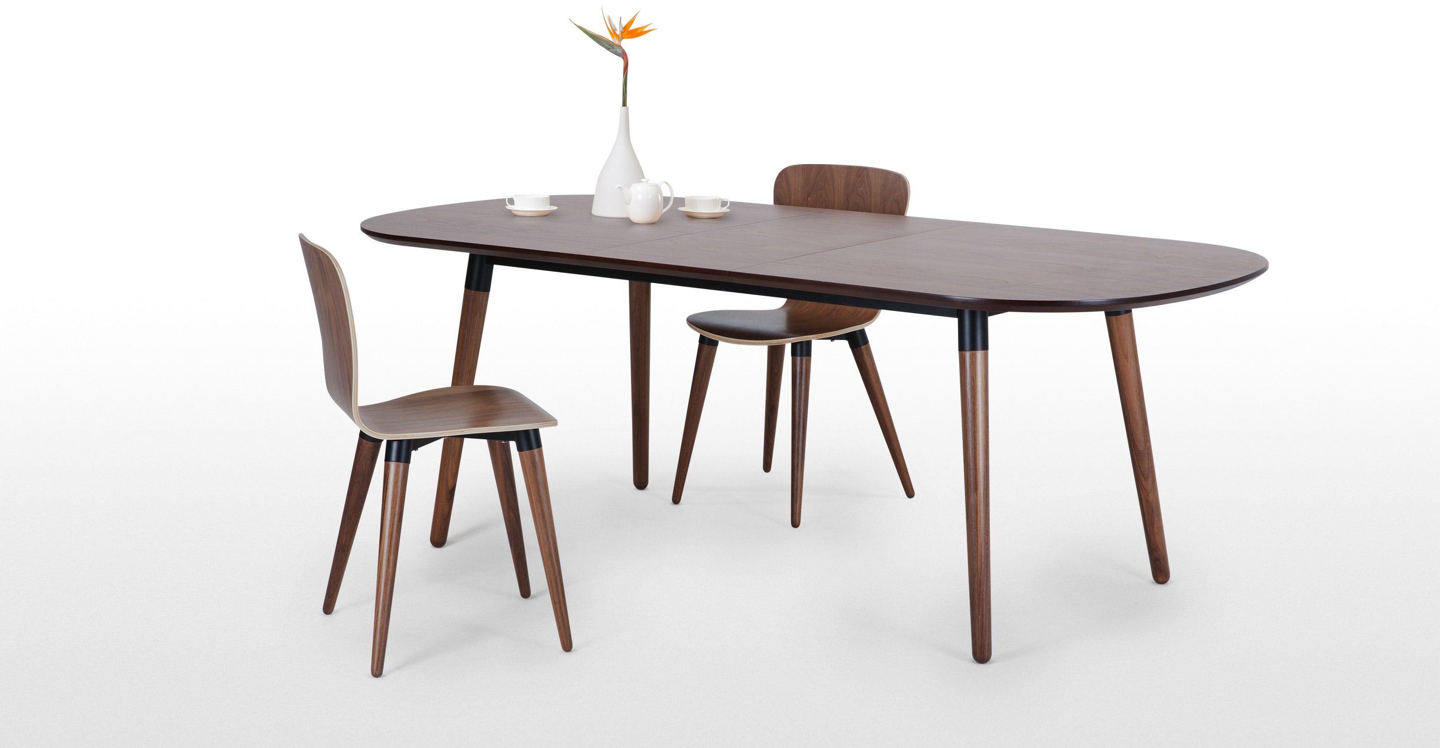 edelweiss, table à rallonges, noyer et noir | dining chairs