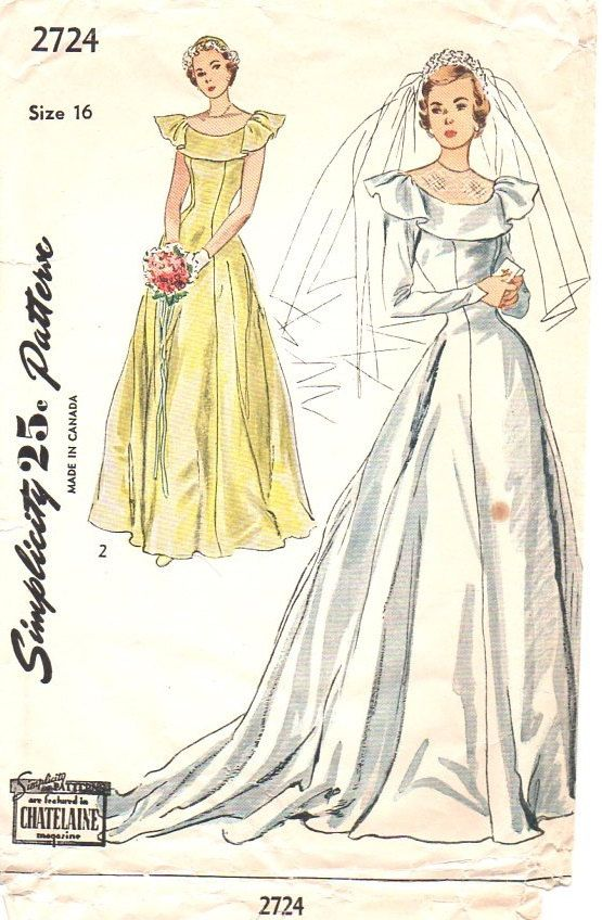 Simplicity 2724 Sewing Pattern 1940s Wedding Gown Bridesmaid Dress ...
