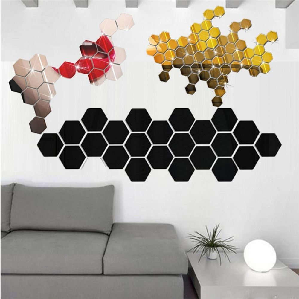 12Pcs 3D Mirror Hexagon Vinyl Removable Wall Sticker Decal ...