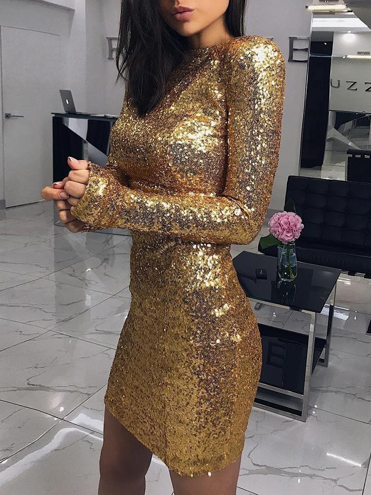Shiny Long Sleeve Bodycon Sequin Party Dress Sequin Party Dress Mini Dress Fashion Party Dress Classy