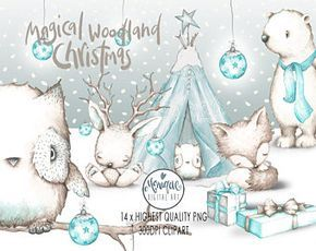 Woodland Christmas Animals clipart,White Bear,White fox,white owl,Christmas Woodland,bunny,planner clipart,watercolor,hand painted,Nursery