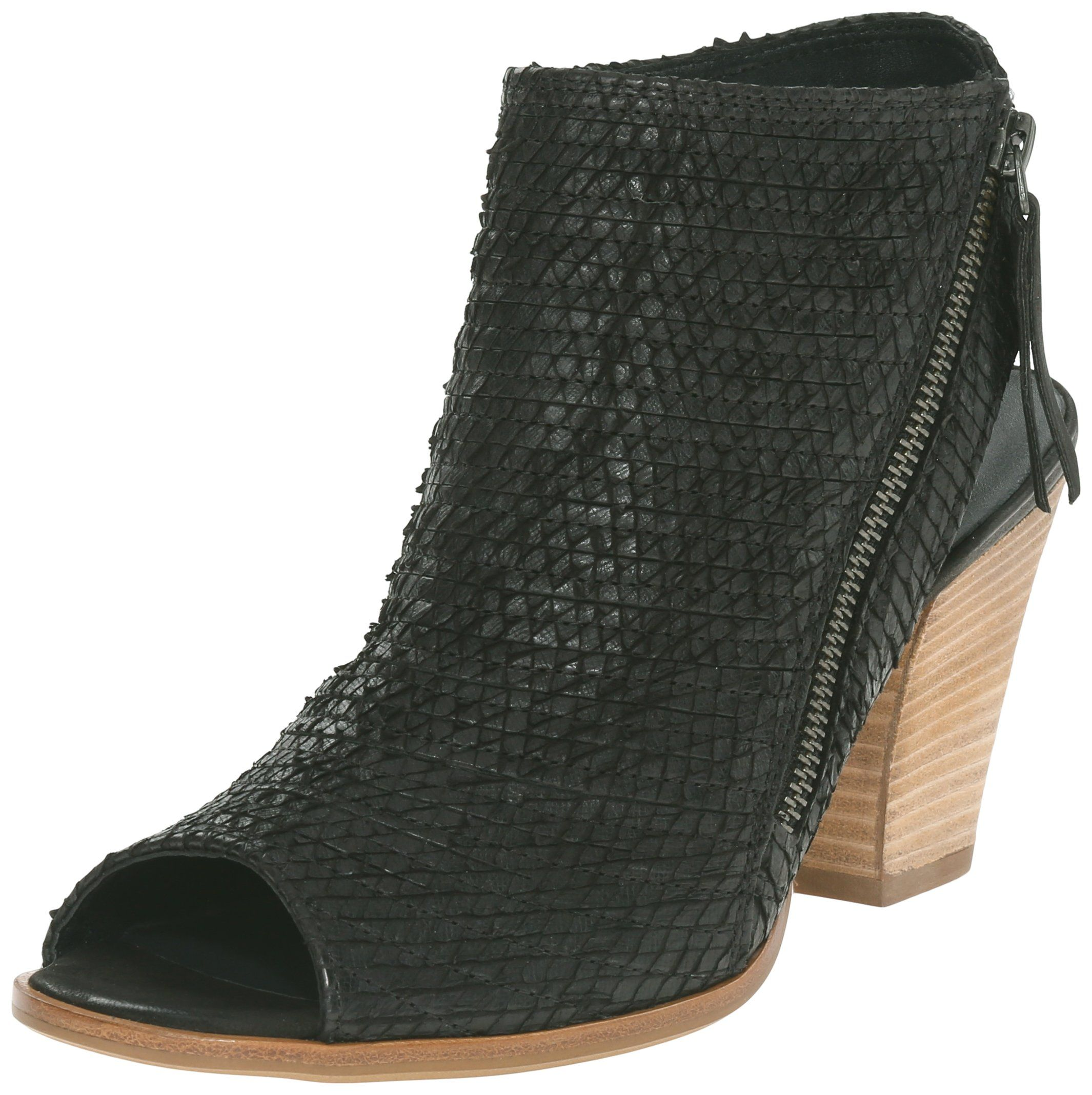 49b7f3aec340 Open-toe bootie with textured-leather upper featuring lateral-side zip  closure and open heel. Stacked chunky heel. Paul Green Womens Alexandra  Dress Sandal ...