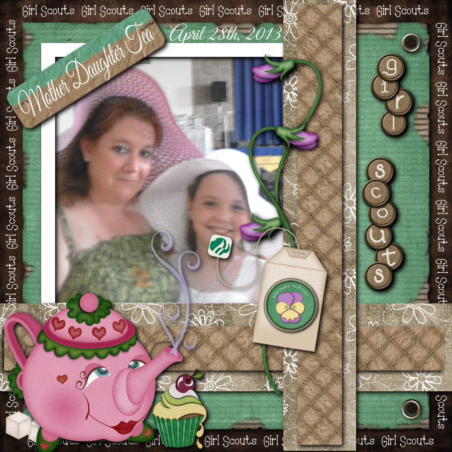 Girl scout scrapbook ideas - Mother And Daughter Tea 12x12 Digital Scrapbook Page For Girl Scouts This Is Part Of
