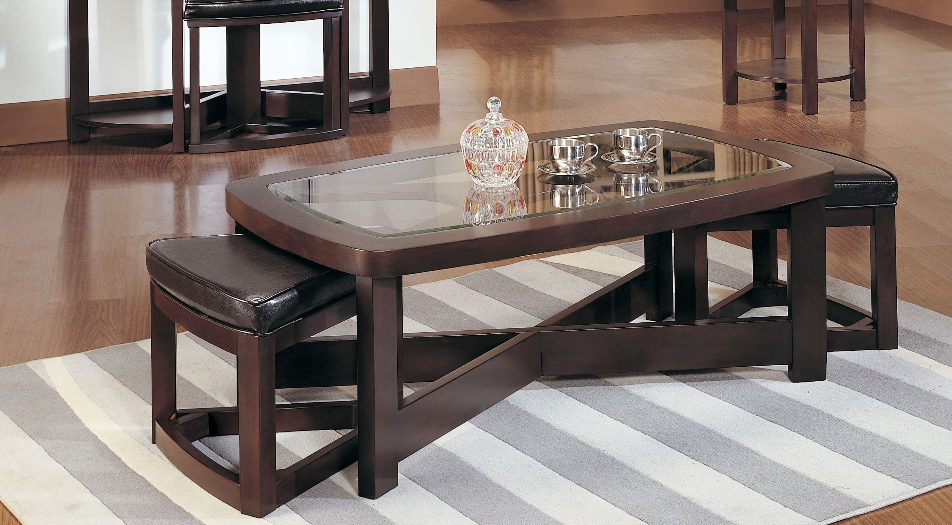 Breathtaking Coffee Table With Stools Underneath And White Gray