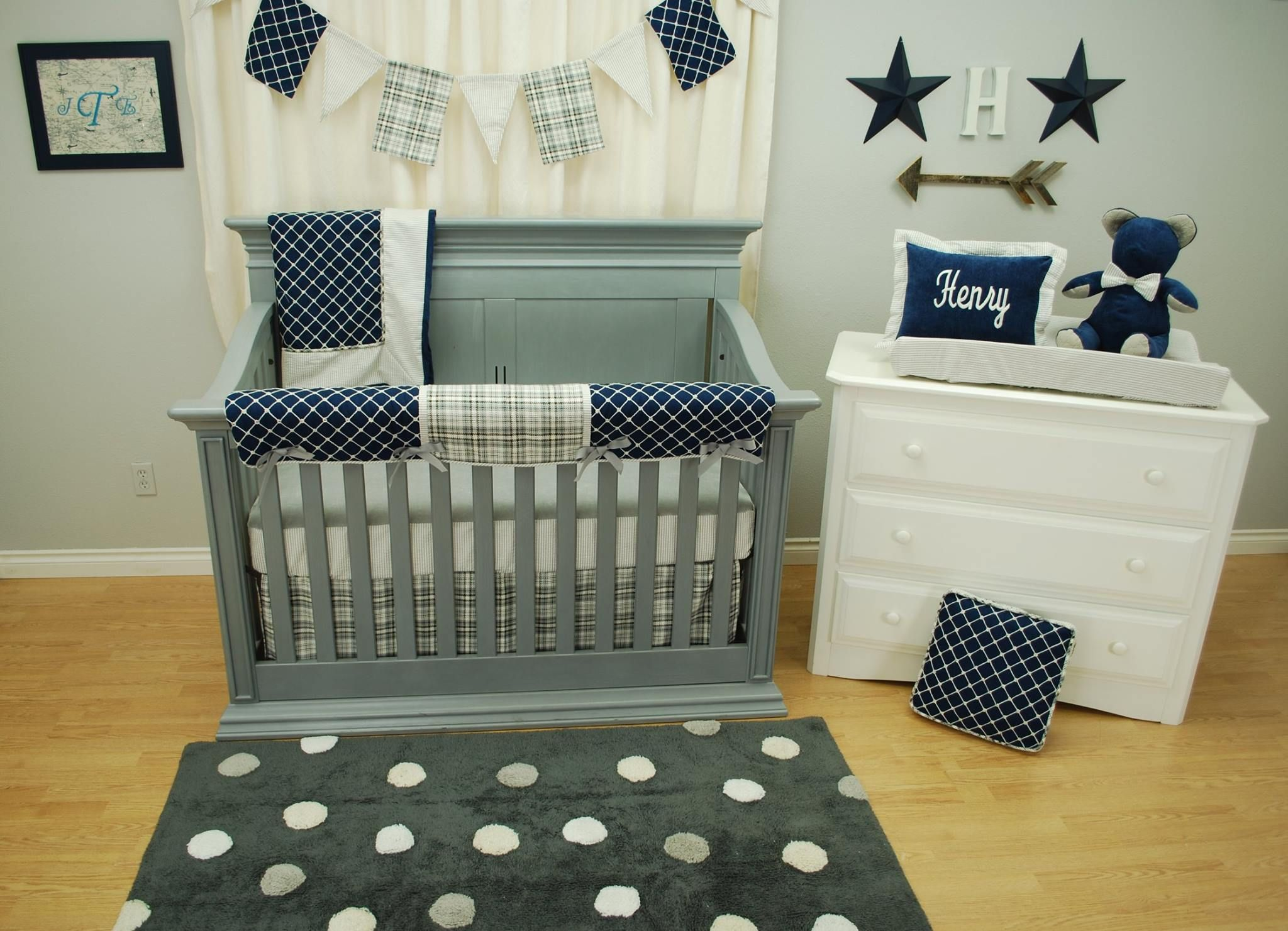 bedding cribs designs pleat plaid single carousel large crib gray skirt