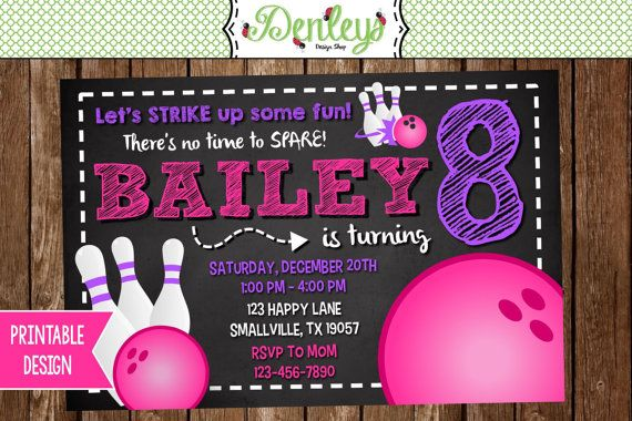 Bowling Birthday Invitation Girl Bowling Invitation Girl Bowl