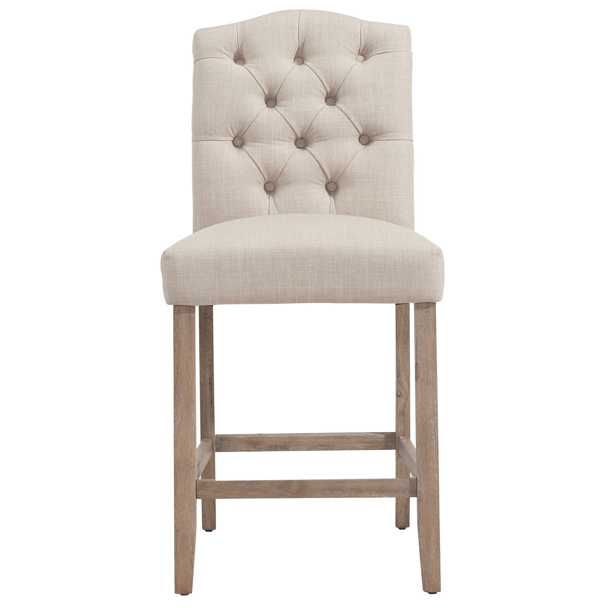 Worldwide Lucian Off White Fabricoak 26 Inch Tufted Back Counter