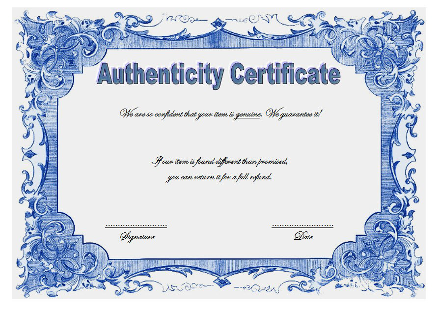 Free Certificate Of Authenticity Jewellery Template Elegant In 2021 Jewelry Template Certificate Template Free