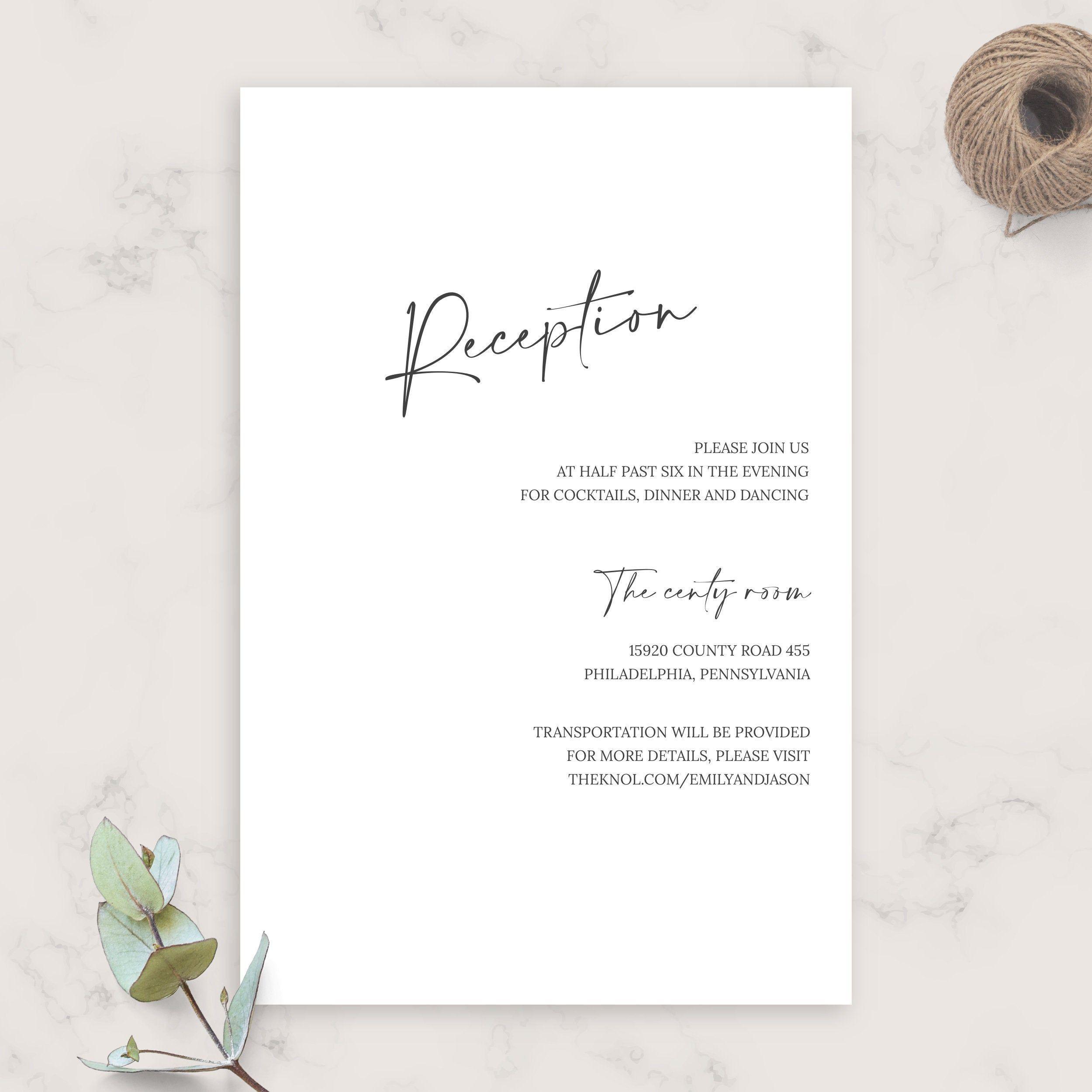 Simple Script Formal Wedding Reception Card Diy Printable Etsy Wedding Reception Cards Formal Wedding Reception Wedding Invitation Enclosure Cards
