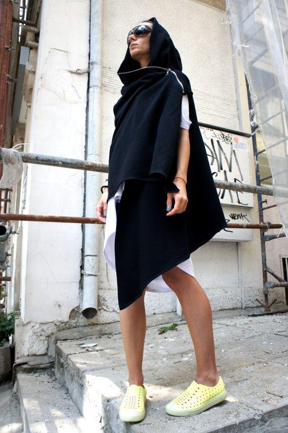 Black Hooded Cardigan / Extravarant Maxi Asymmetric Hoodie / Sleeveless Dress / Viscose Vest A06089