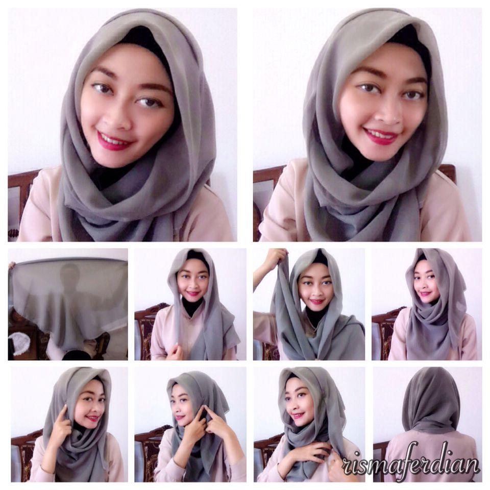 Daily Hijab Tutorial Menggunakan Kerudung Segi4 Paris Hijab