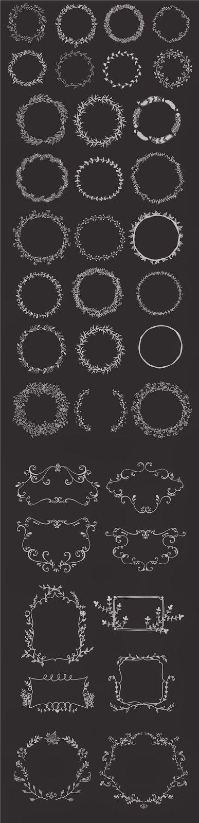 Hand drawn wreaths and frames | Freebies PSD | wnętrza | Pinterest ...