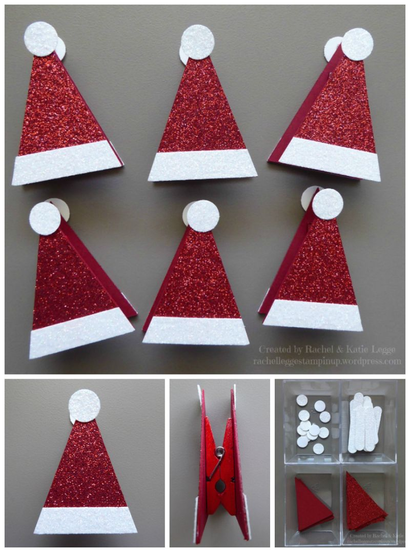 Simple stampinu up santa hat treat topper inspired by janet baker