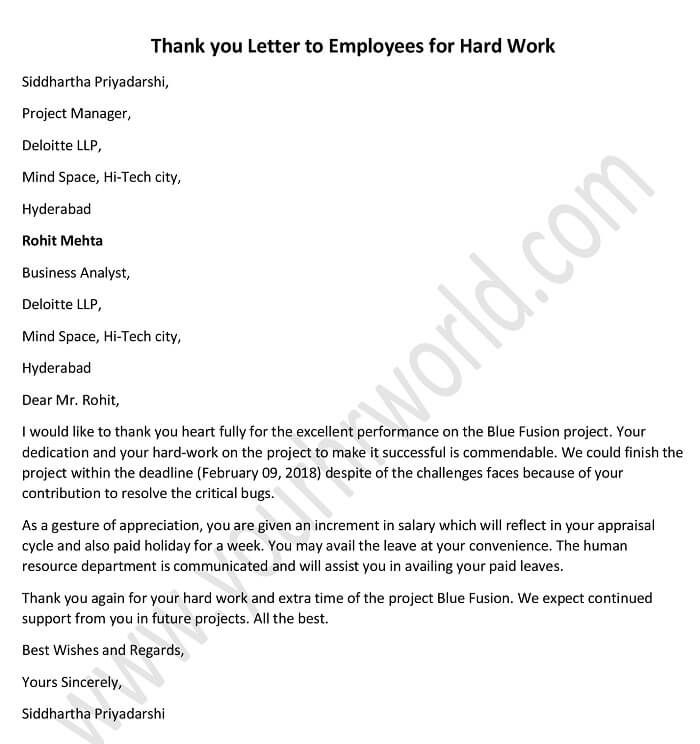 thank you for your hard work letter