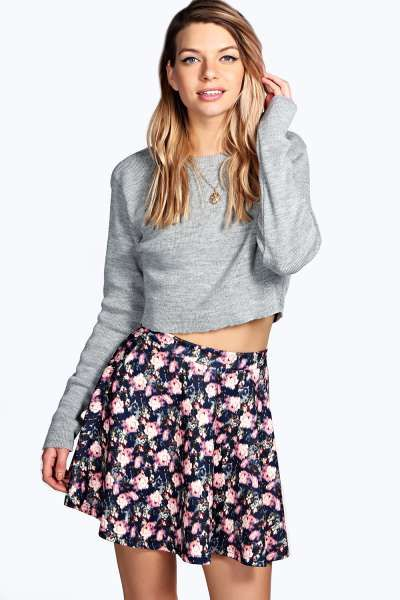 Susan Floral Print Skater Skirt at boohoo.com