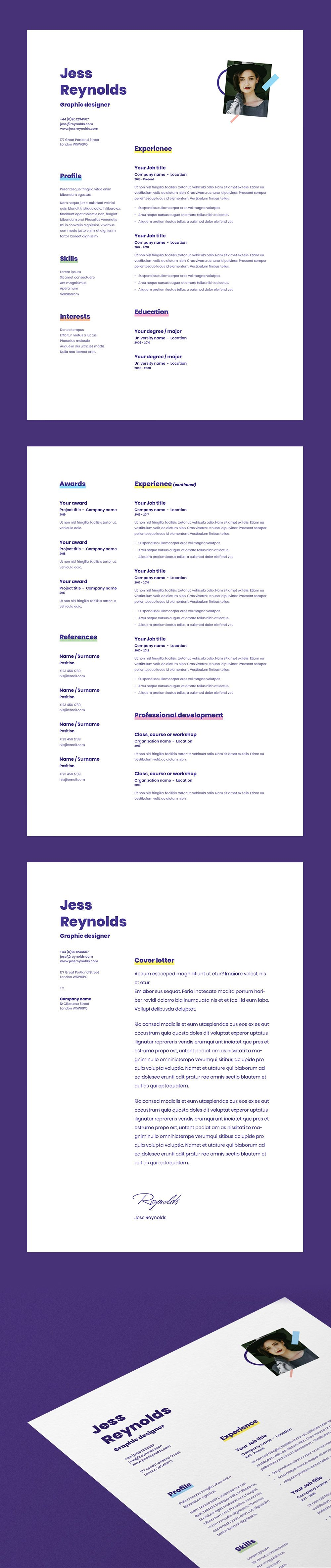 Cv Resume Template With Cover Letter For Word Indesign Photoshop A4 Us Letter Instant Download Cv Resume Template Resume Template Education Logo Design