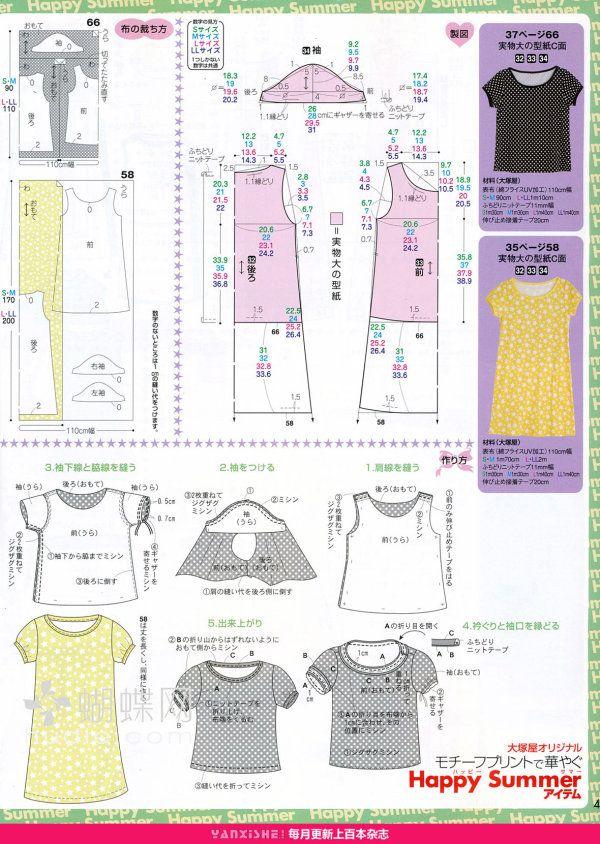 top and dress | patrones | Pinterest | Costura, Patrones y Molde