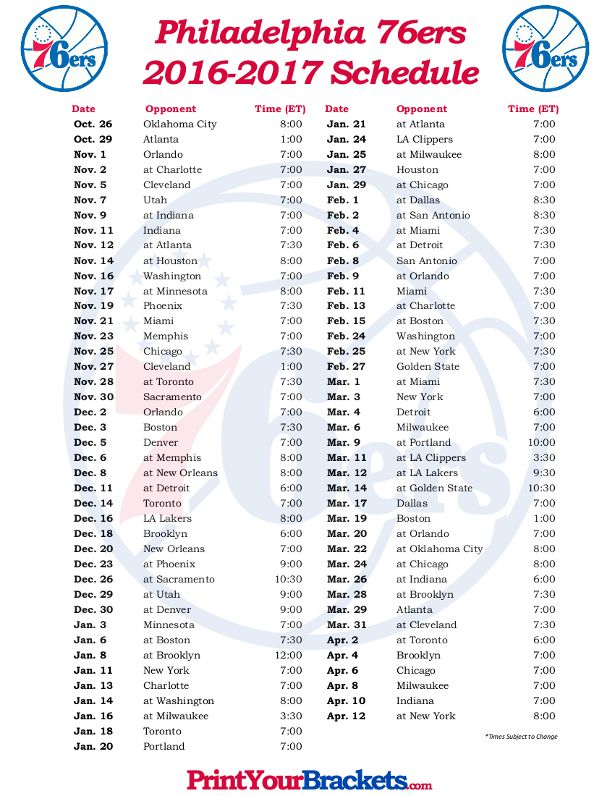 image relating to 76ers Printable Schedule identify Printable Philadelphia 76ers Basketball Program 2016 - 2017