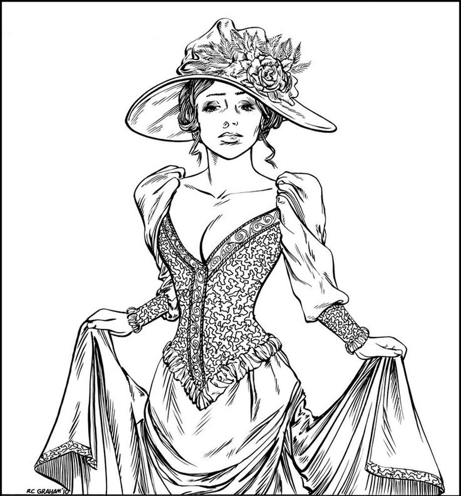 Victorian woman realistic coloring pages for adults