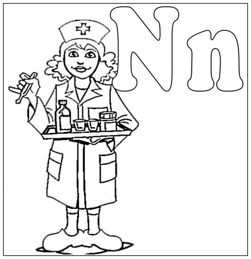 Nurse Coloring Pages Kindergarten. N Is For Nurse Coloring Kids  Colouring Pages It s