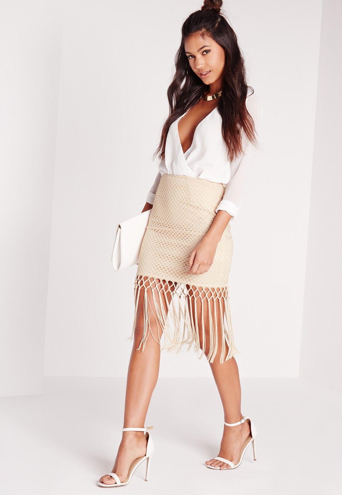 Missguided - Fishnet Tassel Detail Mini Skirt Nude