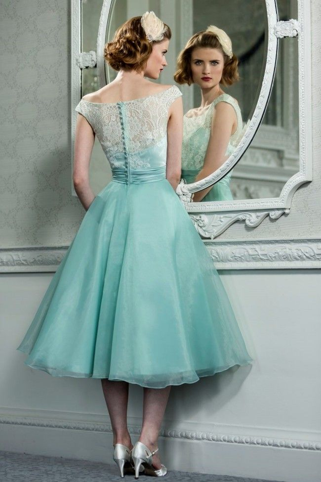 Elegant Tea Length Dresses | ... Vintage Style Lace Organza Tea ...