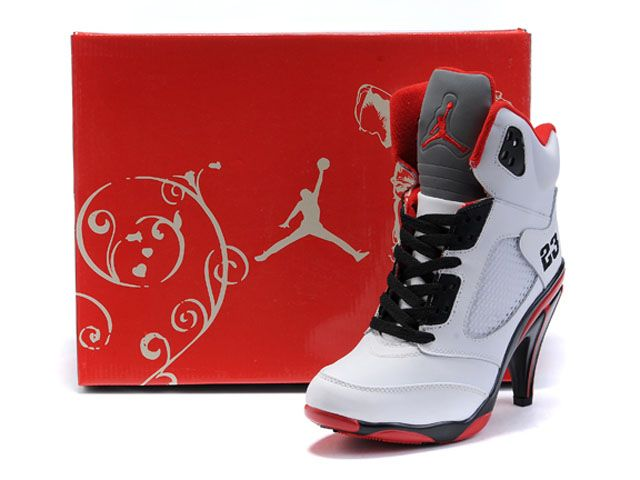 info for d844a 62f3c Air Jordan 5 High Heels Shoes Red White in 2019 | shoes | Jordan ...