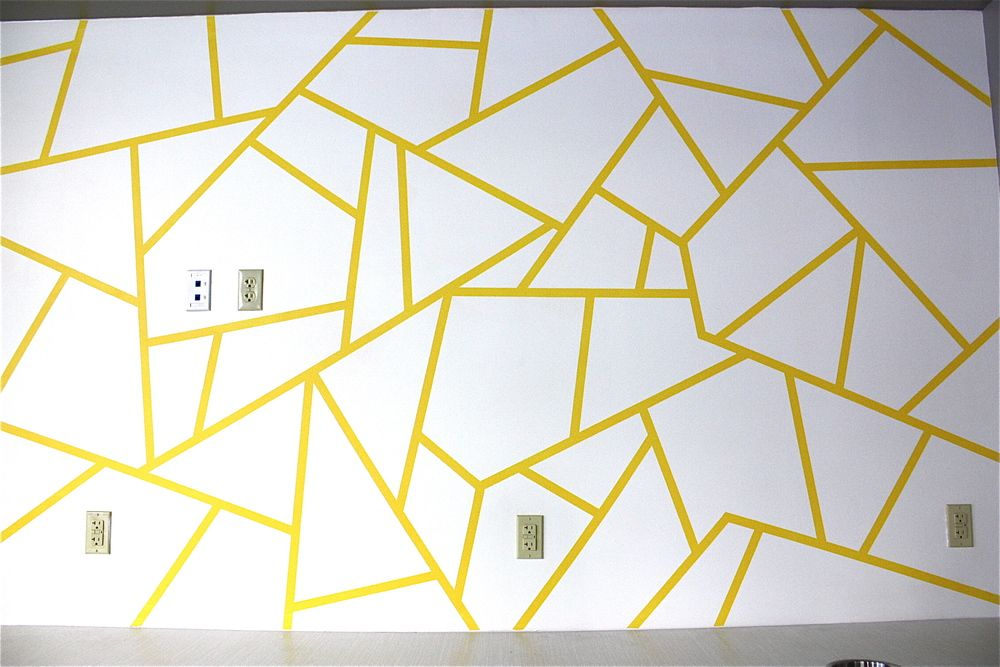 Geometric Triangle Wall Paint Design Idea with Tape | Walls, Artist ...