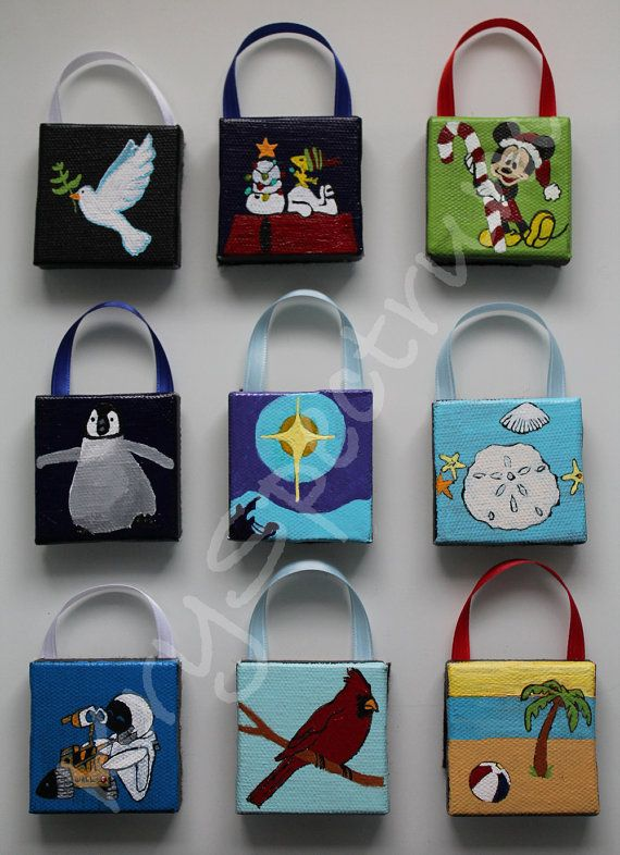 Mini Canvas Handpainted Ornaments by KrySpectrum on Etsy, $5.99