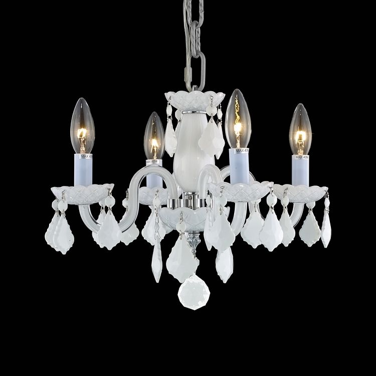 Rococo collection 4 light 15 glossy white glass mini crystal rococo collection 4 light 15 glossy white glass mini crystal chandelier 7804d15wh wh aloadofball Images