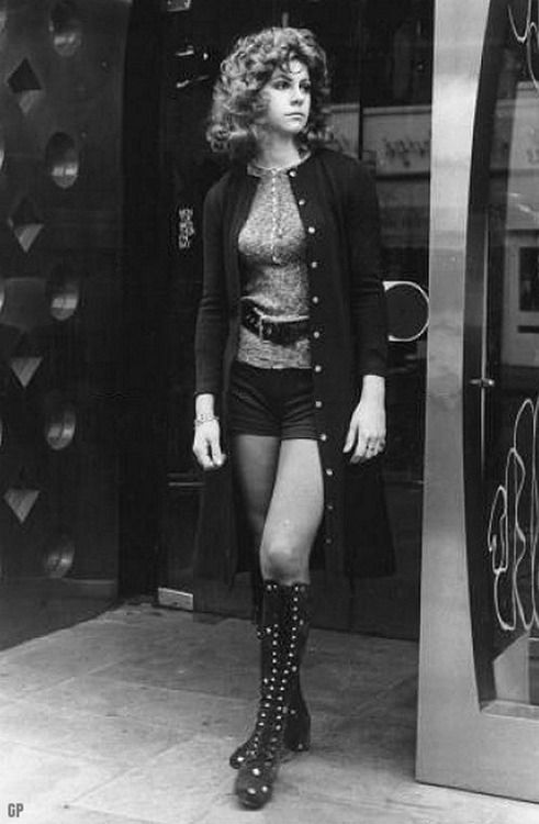 Hot pants and boots on the street, 1970s.....I wore very similiar