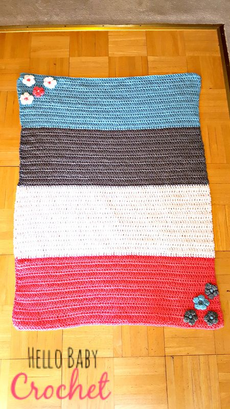 Crocheted Color Block Baby Blanket w/ Flower accents