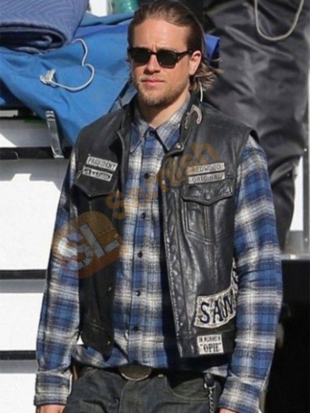 Sons Of Anarchy Charlie Hunnam Biker Vest Sons Of Anarchy Vest Celebrities Leather Jacket Leather Biker Vest