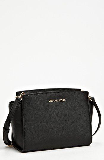 fadb191583104 MICHAEL Michael Kors  Medium Selma  Saffiano Leather Crossbody Bag Black