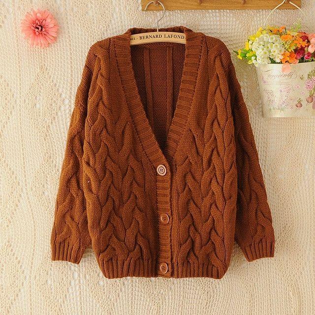 Buy Twist Cardigan Sweater Jacket Spring Autumn Winter Korean V ...