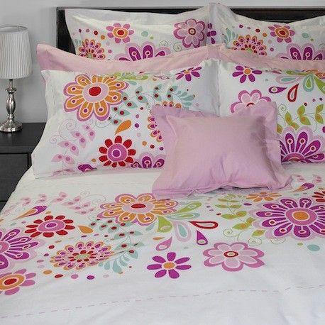 tahiti dans les tons de blanc mauve rose 100 coton gyptien tiss en isra l housse de. Black Bedroom Furniture Sets. Home Design Ideas