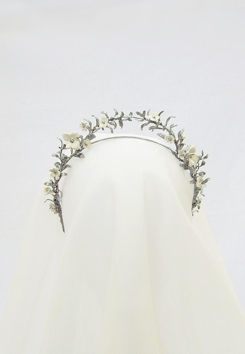 Silver leaf crown, Myrtle leaf crown, wedding crown #186