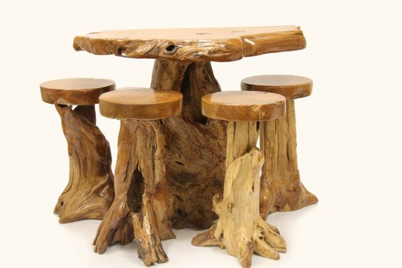 Rustic 5 Piece Teak Root Bar Dining Set with High Stools https://www.etsy.com/shop/FromtheRootsLA