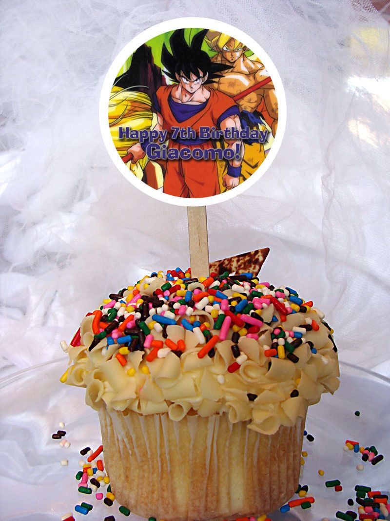 Dragon Ball Z Kai Personalized Cupcake Toppers Set of 6