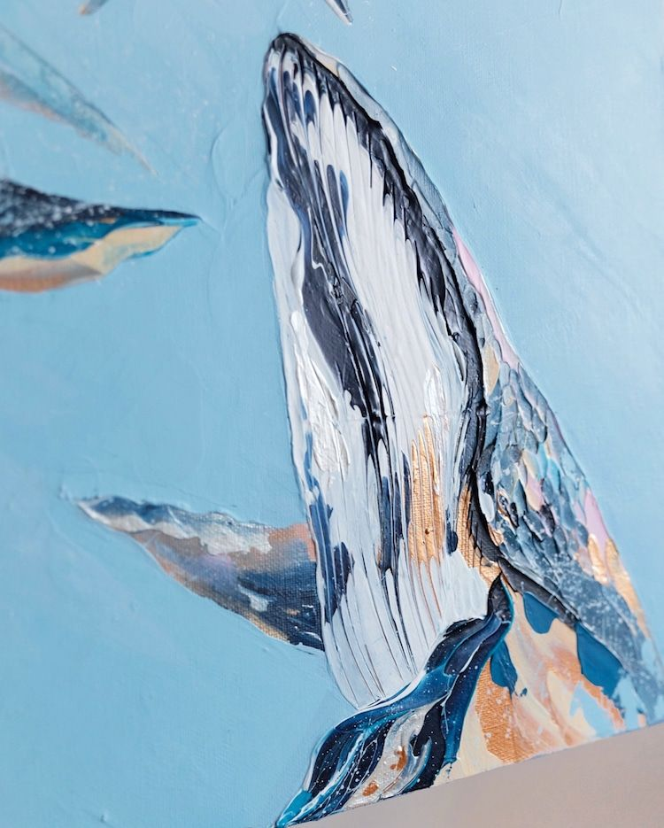 Textured Palette Knife Paintings Capture the Majestic Beauty of Whales