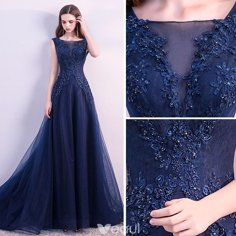 Tony Ward La Mariée Fall 2018 Wedding Dresses: Chic-beautiful-navy-blue-evening-dresses-2018-a-line